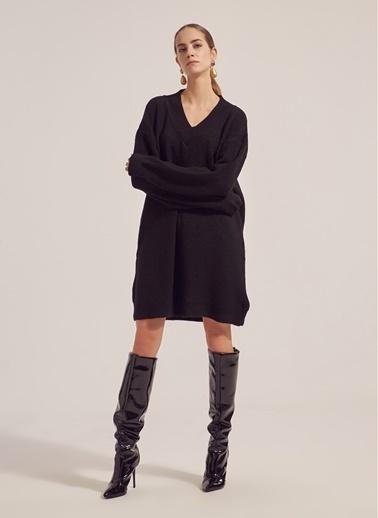 Monamoda V Yaka Tunik Triko Elbise Siyah